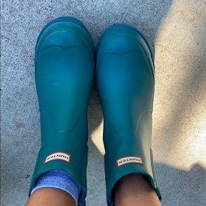 Platform teal hunter rain boot
